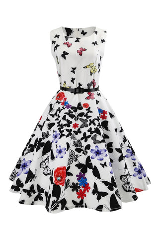 B| Chicloth New Knee Length Ball Gown Black And White Summer Dress - Chicloth