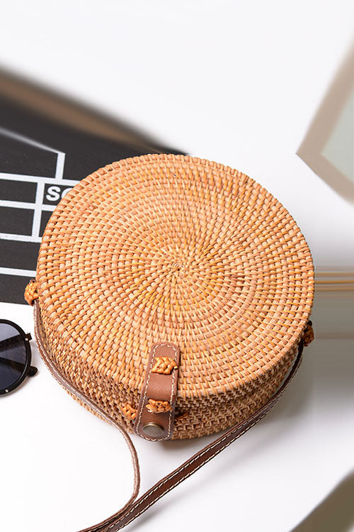 B| Chicloth Handmade Rattan Woven Leather Round Tote Rattan Bags-bags-Chicloth