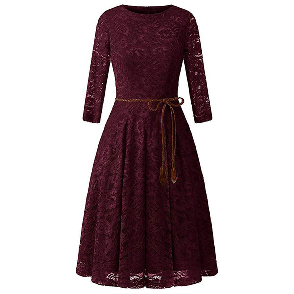 A| Chicloth Women's 3/4 Sleeve Flare Floral Lace Swing Party Bridesmaid Dress-casual dresses-Chicloth