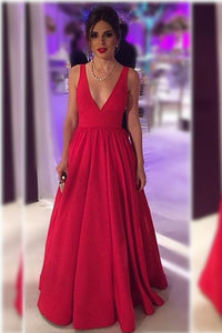 B| Chicloth V-neck Red Long Sleeveless Open-Back Evening Dresses - Chicloth