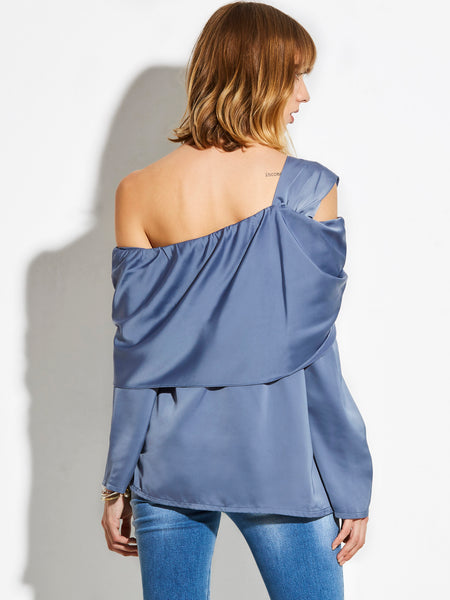 Chicloth Blue Oblique Off the Shoulder Blouse
