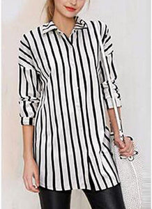 Chicloth Striped Turn-down Collar Long Sleeve Long Shirt-Plus Size Tops-Chicloth