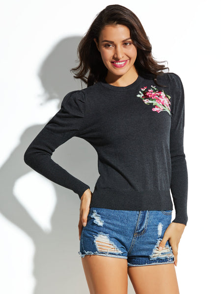 Chicloth Black Mottled Floral Embroideried Women's Knitwear