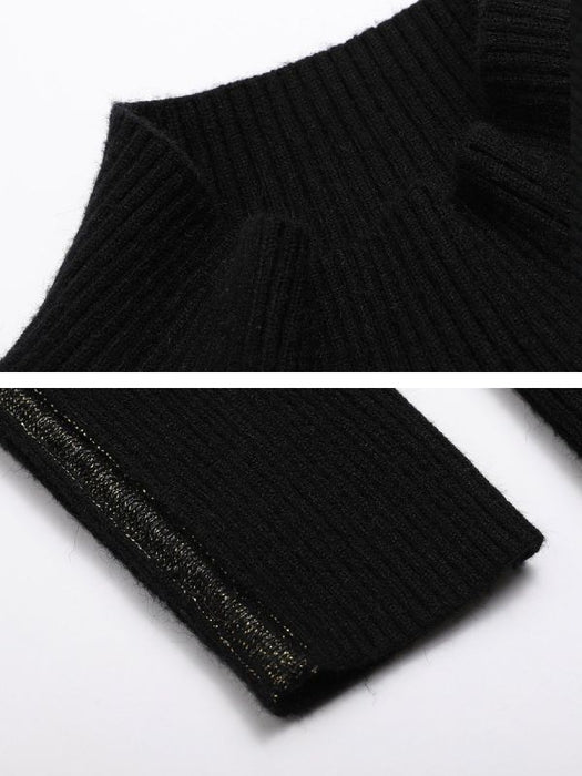 Black Casual Long Sleeve Crew Sweaters-Sweaters-Chicloth
