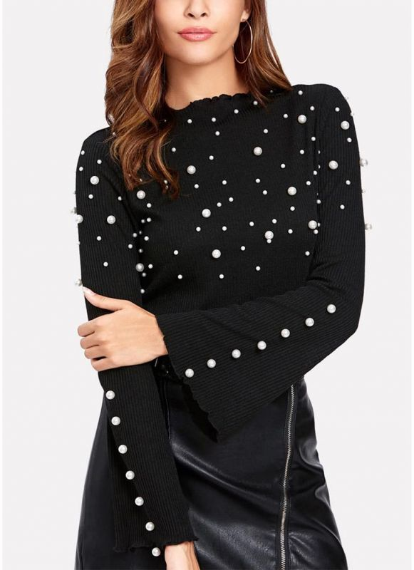 B/ Chicloth Women Peal Beading Embellished Ribbed O Neck Flared Sleeve T-Shirt - Black / S