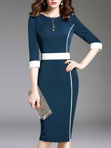 Dark Blue Elegant Bodycon Crew Neck Half Sleeve Midi Dresses