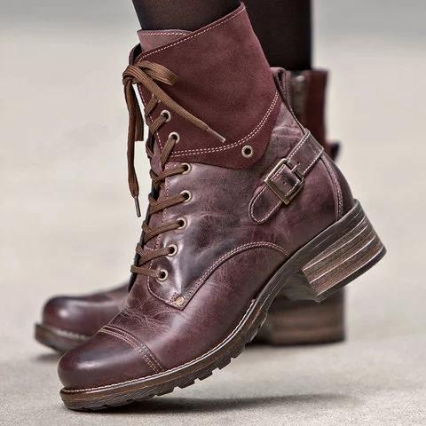 A| Chicloth Chic Style Color-block Boots Lace-Up All Season Boots-Boots-Chicloth