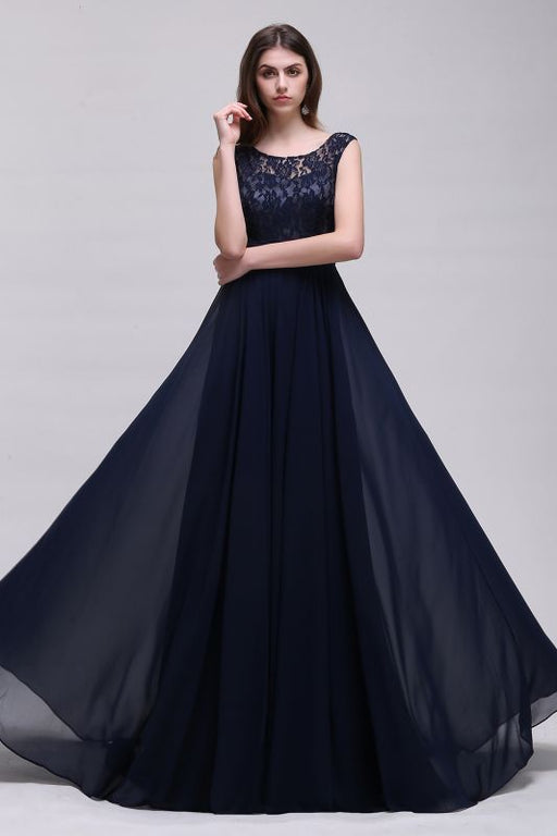A| Chicloth A-line Scoop Chiffon Prom Dress With Lace-Evening Dresses-Chicloth