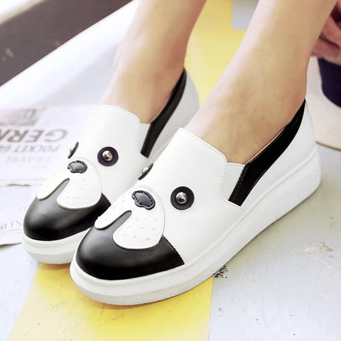Beading Daily Round Toe Wedge Loafers