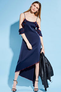 A| Chicloth Dark Blue String Open Back Red Edge Maxi Dress - Chicloth