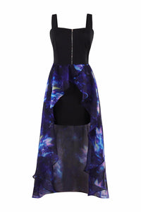Chicloth Black String and Dark Blue Silk High Low Zipper Dress