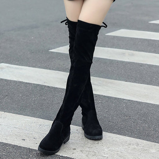 A| Chicloth Black Suede Daily Chunky Heel Round Toe Boots-boots-Chicloth