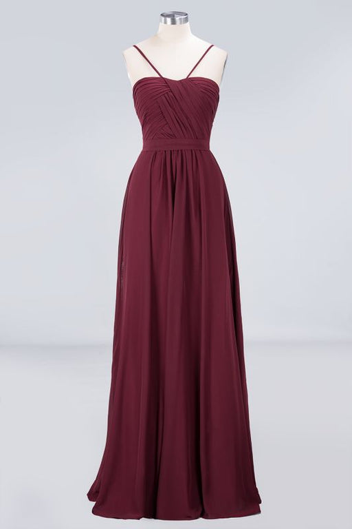 Chicloth A-Line Chiffon Sweetheart Spaghetti-Straps Backless Floor-Length Bridesmaid Dress with Ruffles-Bridesmaid Dresses-Chicloth