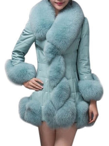 Chicloth Fur Collar Plain Leather Leather Coats