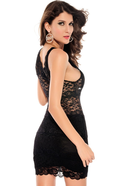Chicloth Allover Lace Strappy Fitted Cup Bodycon Dress Black