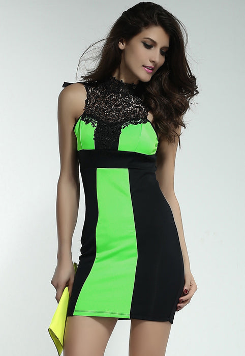 Chicloth Charming Embroidered Neck Black and Green Mini Dress-Chicloth