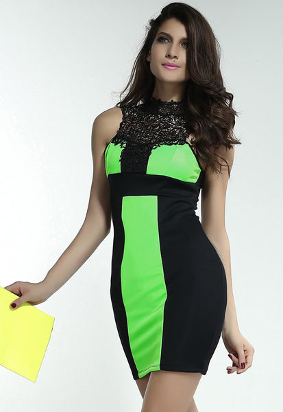 Chicloth Charming Embroidered Neck Black and Green Mini Dress