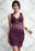 Chicloth Allover Lace Strappy Fitted Cup Bodycon Dress Purple-Chicloth