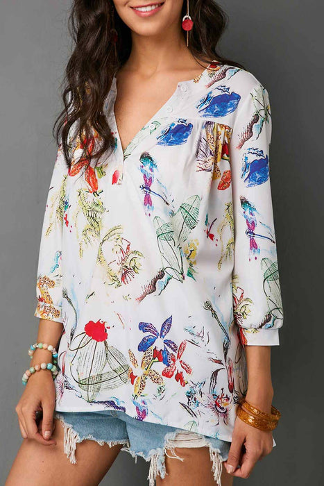 AA| Chicloth Split Neck Three Quarter Sleeve Blouse-Chicloth