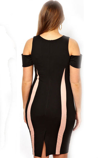 Chicloth Black Exclusive Bodycon Dress With Drop Shoulders