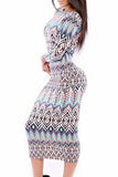 Chicloth Tribal Print Scoop Back Long-sleeve Midi Dress