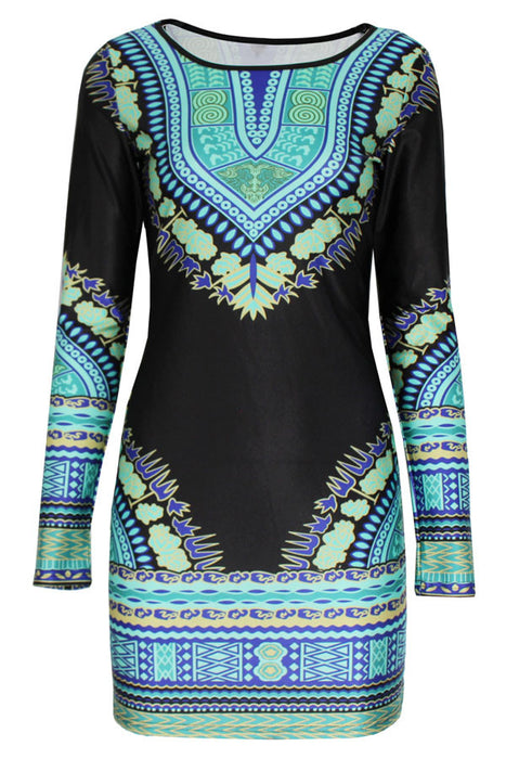 Chicloth Retro Green Pattern Bodycon Print Dress-Boho Dresses-Chicloth