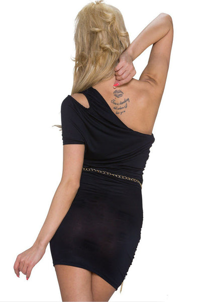 Chicloth Black Cut-out One-shoulder Plicated Bodycon Dress-Chicloth