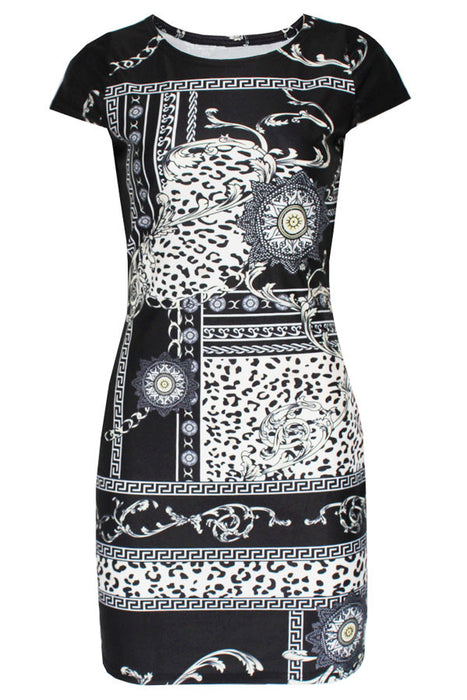 Chicloth Indian Queen Graphic Print Dress-Boho Dresses-Chicloth