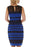 Chicloth Blue Sleeveless Lace Striped Bodycon Dress-Chicloth