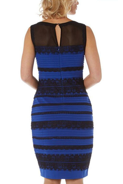 Chicloth Blue Sleeveless Lace Striped Bodycon Dress