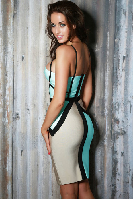 Chicloth White Cutout Bandage Dress with Black Lines-Bandage Dresses-Chicloth