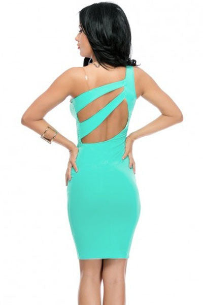 Chicloth Aqua One-shoulder Hollow-out Bodycon Dress-Chicloth