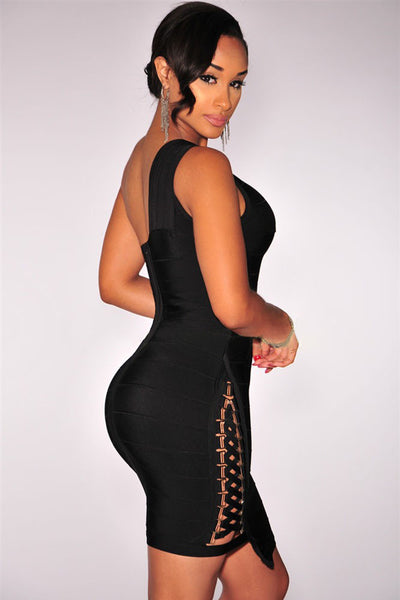 Chicloth Black Lace up One Shoulder Bandage Dress