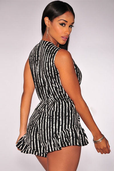 Chicloth Black White Print Ruffle Tie-Knot Front Romper