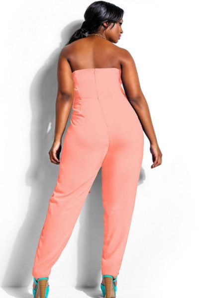 Chicloth Pink Plus Size Strapless Jumpsuit-Jumpsuits & Rompers-Chicloth