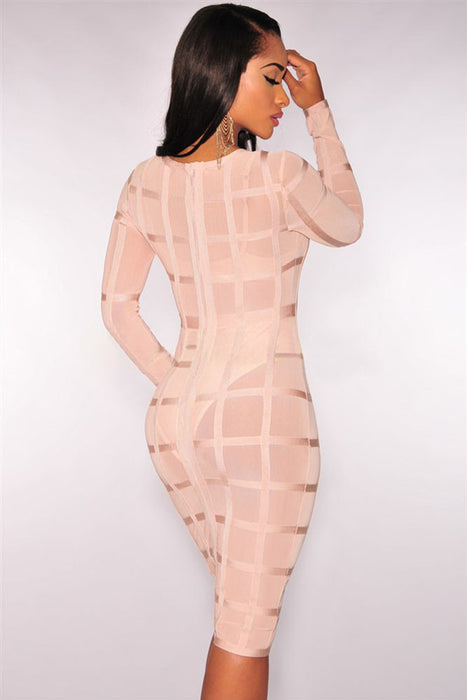 Chicloth Nude Bandage Caged Panty Lined Dress-Bandage Dresses-Chicloth