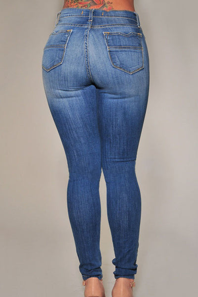 A| Chicloth Denim Destroyed Skinny Jeans-Jeans-Chicloth