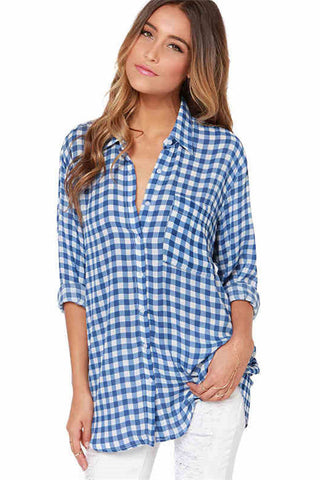 Chicloth New Simple Blue Checkered Shirt Sexy Lapel Shirt Blouse