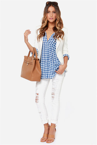 Chicloth New Simple Blue Checkered Shirt Sexy Lapel Shirt Blouse 03