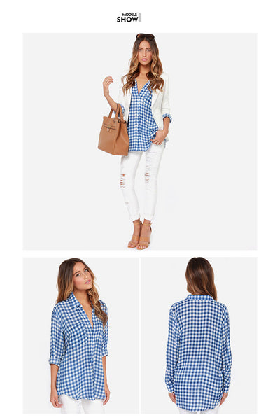 Chicloth New Simple Blue Checkered Shirt Sexy Lapel Shirt Blouse 04