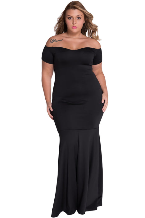 Chicloth Black Plus Size Off Shoulder Fishtail Maxi Dress-Plus size Dresses-Chicloth