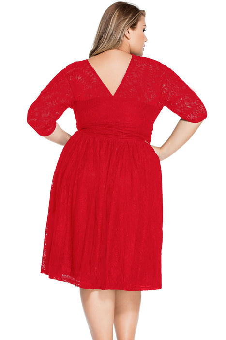 Chicloth Red Lace V Neck Curvy Skater Dress-Plus size Dresses-Chicloth