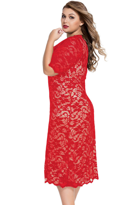 Chicloth Red Plus Size V-Neck Half Sleeve Lace Midi Dress-Plus size Dresses-Chicloth
