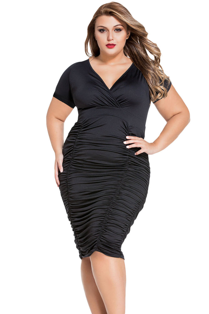 Chicloth Black Pleated Curvaceous Midi Dress-Plus size Dresses-Chicloth