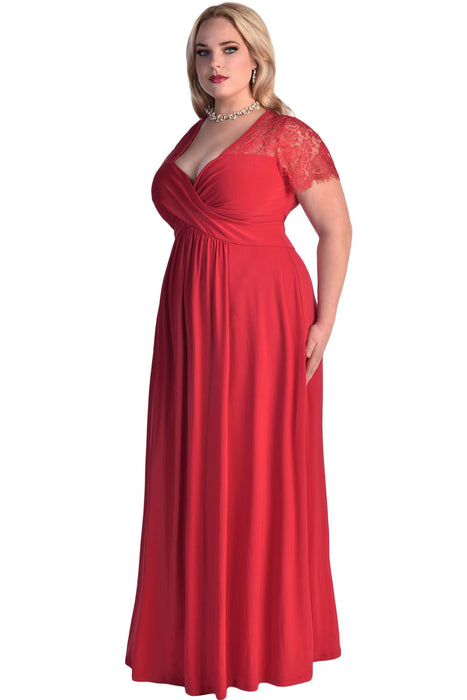 Chicloth Red Lace Yoke Ruched Twist High Waist Plus Size Gown-Plus size Dresses-Chicloth