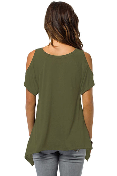 Chicloth Army Green V Neck Cold Shoulder Swing Top