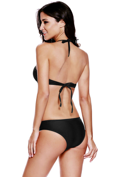 Chicloth Black Cut out Vintage Pinup Female Two Piece Tankini