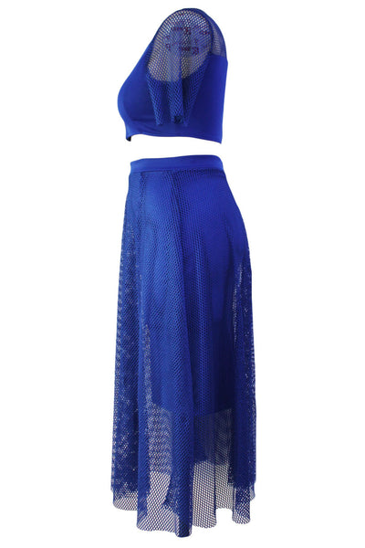 Chicloth Blue Mesh Joint Plus Crop Top Skirt Set
