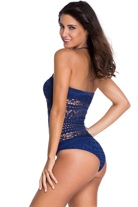 Chicloth Blue Lace Halter Teddy Swimsuit-One piece Swimwear-Chicloth