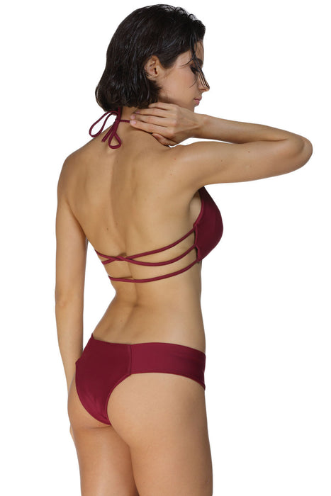 Chicloth Maroon Cage Bralette Bikini Swimsuit-Swimwear-Chicloth